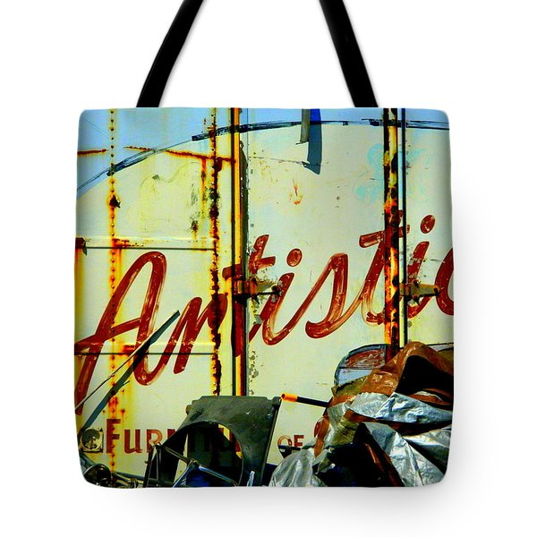 Artistic Junk Tote Bag by Kathy Barney