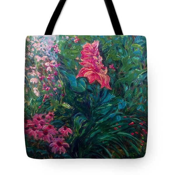 Tote Bag featuring the painting The Artist's Garden In Spring II by J Reynolds Dail