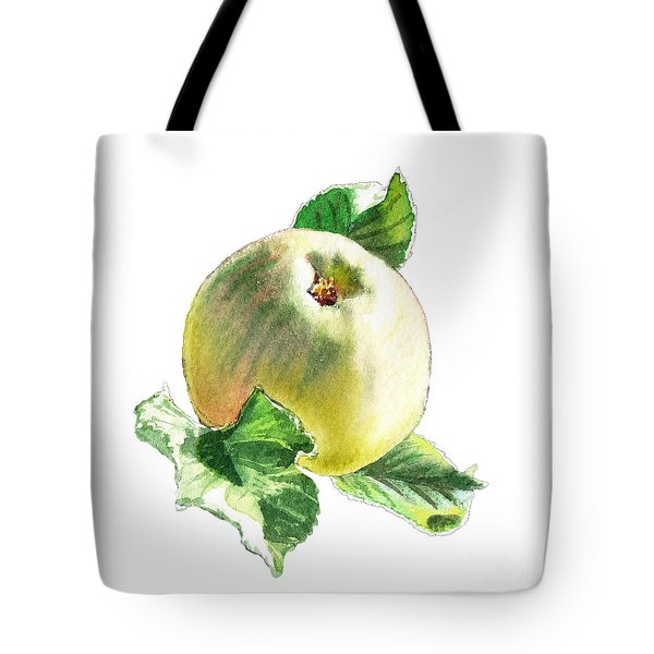 Tote Bag featuring the painting Artz Vitamins Series A Happy Green Apple by Irina Sztukowski