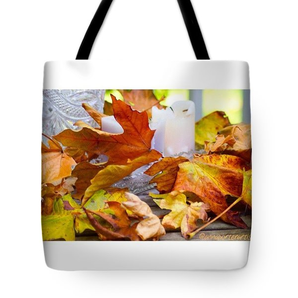 Maple Leaves Candles And Crystal Tote Bag by Anna Porter