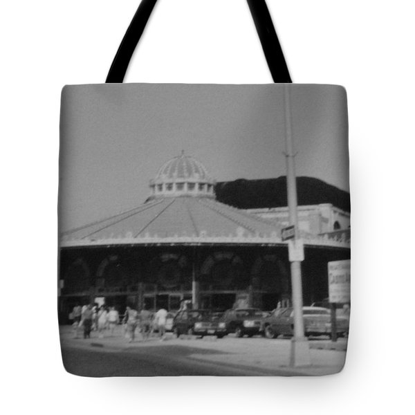 Asbury Park Nj Carousel Bw Tote Bag by Joann Renner