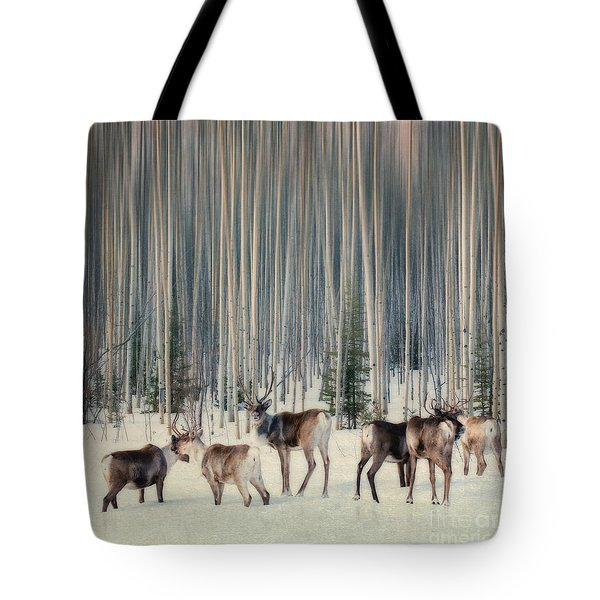 Caribou And Trees Tote Bag