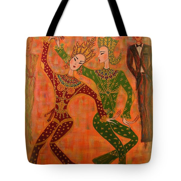 Tote Bag featuring the painting Asian Dancers by Marie Schwarzer