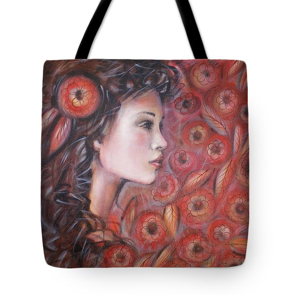 Asian Dream In Red Flowers 010809 Tote Bag