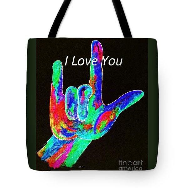 Asl I Love You On Black Tote Bag by Eloise Schneider