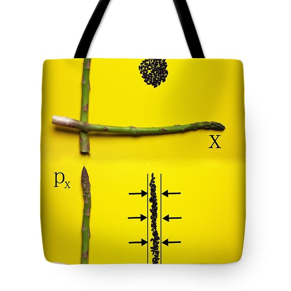 Tote Bag featuring the photograph Asparagus And Black Rice Depicting Heisenberg Uncertainty Food Physics by Paul Ge