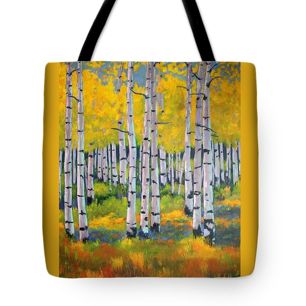 Tote Bag featuring the painting Aspen Color by Nancy Jolley