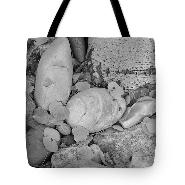 Tote Bag featuring the photograph Aspen Leaves On The Rocks - Black And White by Dorrene BrownButterfield