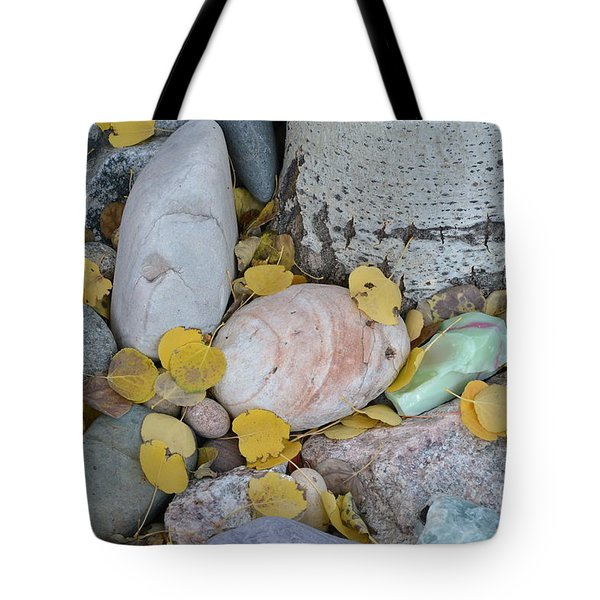 Tote Bag featuring the photograph Aspen Leaves On The Rocks by Dorrene BrownButterfield