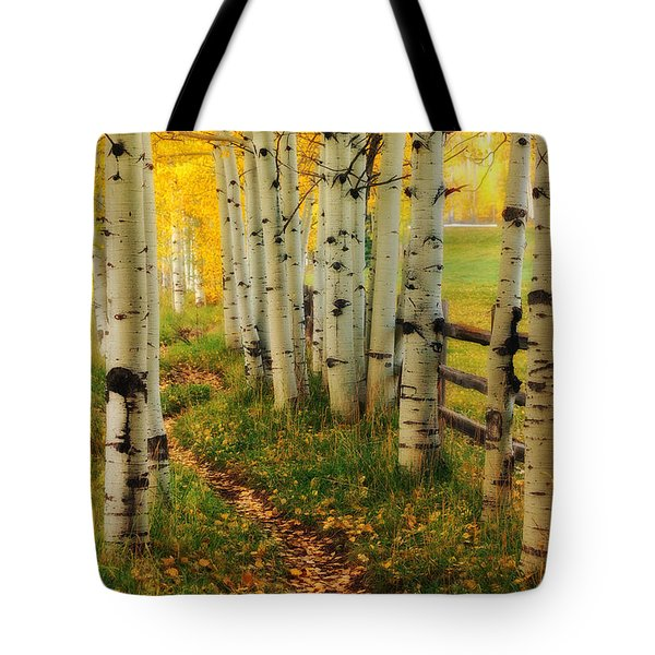 Aspen Path Tote Bag by Ronda Kimbrow