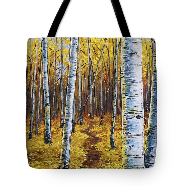 Tote Bag featuring the painting Aspen Trail by Aaron Spong