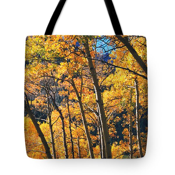 Aspen Trees In Autumn With Mountain Tote Bag