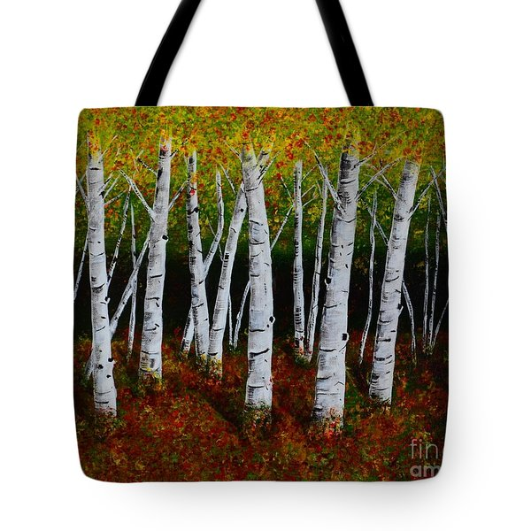 Tote Bag featuring the painting Aspens In Fall 2 by Melvin Turner