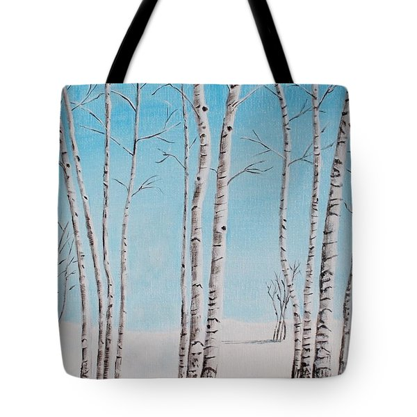 Tote Bag featuring the painting Aspens In Snow by Melvin Turner