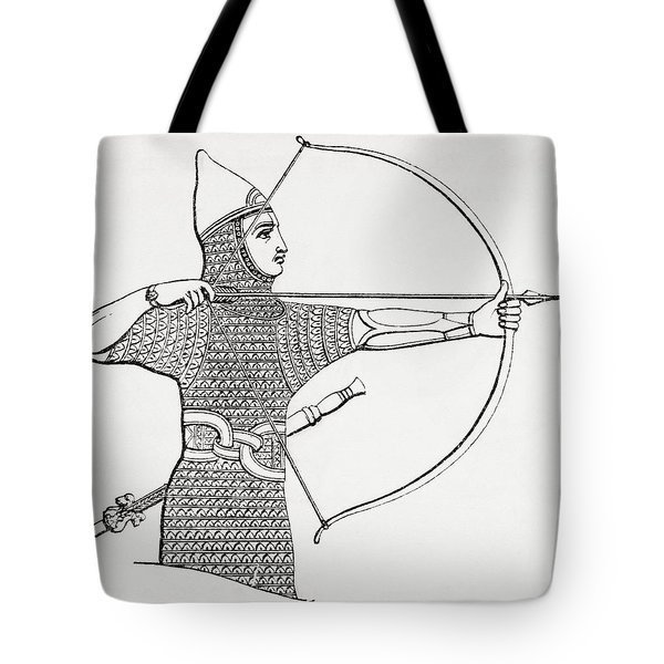 Assyrian Archer Wearing A Cuirass.  From The Imperial Bible Dictionary, Published 1889 Tote Bag