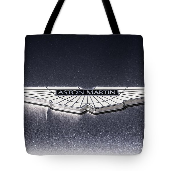 Tote Bag featuring the digital art Aston Martin Badge by Douglas Pittman