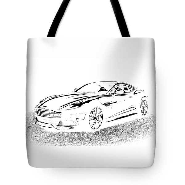 Tote Bag featuring the digital art Aston Martin by Rogerio Mariani