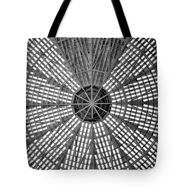 Astrodome Ceiling Tote Bag by Benjamin Yeager
