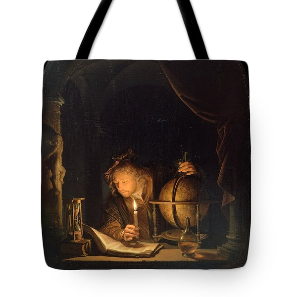 Tote Bag featuring the painting Astronomer By Candlelight by Gerrit Dou