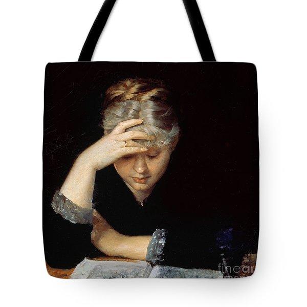 At A Book Tote Bag by Maria Konstantinova Bashkirtseva