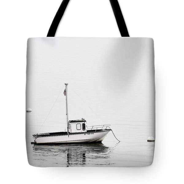 At Anchor Bar Harbor Maine Black And White Square Tote Bag by Carol Leigh