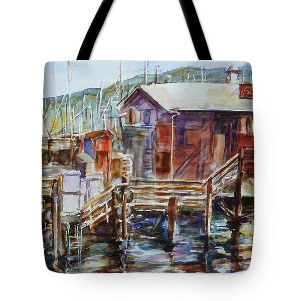 At Monterey Wharf Ca Tote Bag