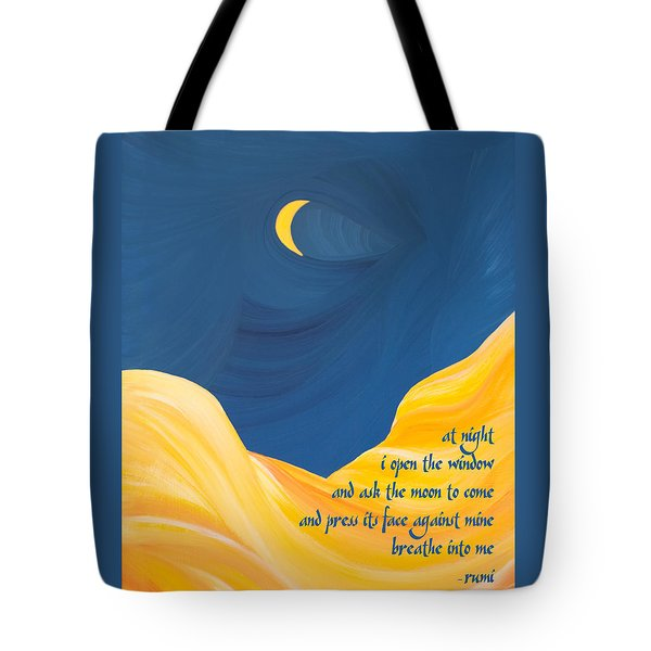 At Night With Rumi And The Moon Tote Bag by Ginny Gaura