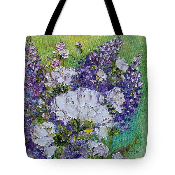 Tote Bag featuring the painting At Peg's Request by Judith Rhue