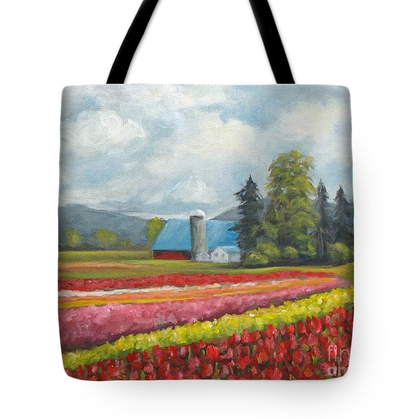 Tote Bag featuring the painting At Peterson And Avon Allen by Phyllis Howard