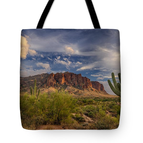 At The Base Of The Mountain Tote Bag by Saija  Lehtonen