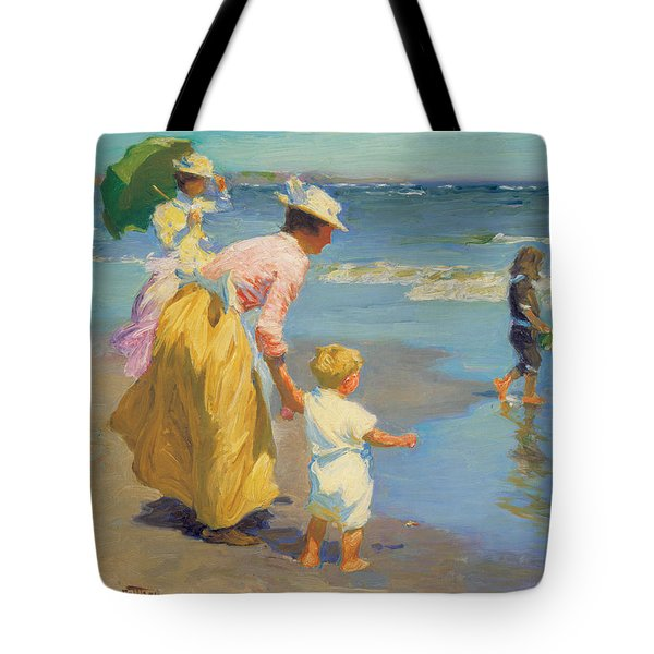 At The Beach Tote Bag by Edward Potthast