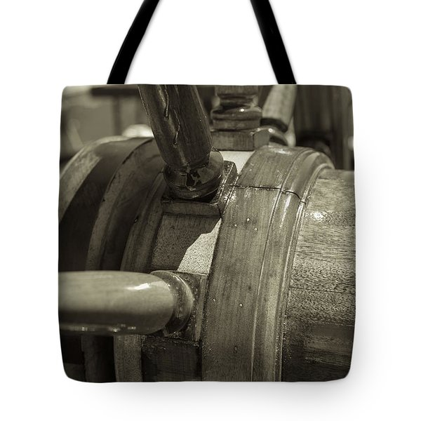 At The Helm Black And White Sepia Tote Bag by Scott Campbell