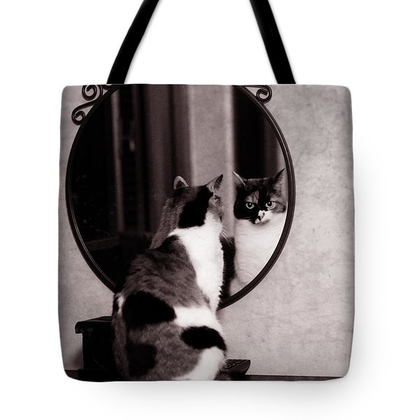 Tote Bag featuring the photograph At The Mirror by Laura Melis