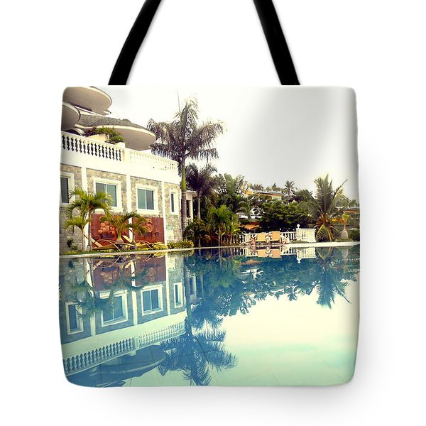At The Pool Reflections Tote Bag