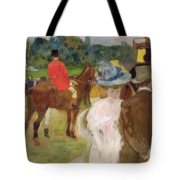 At The Races At Auteuil Tote Bag by Leon Georges Carre