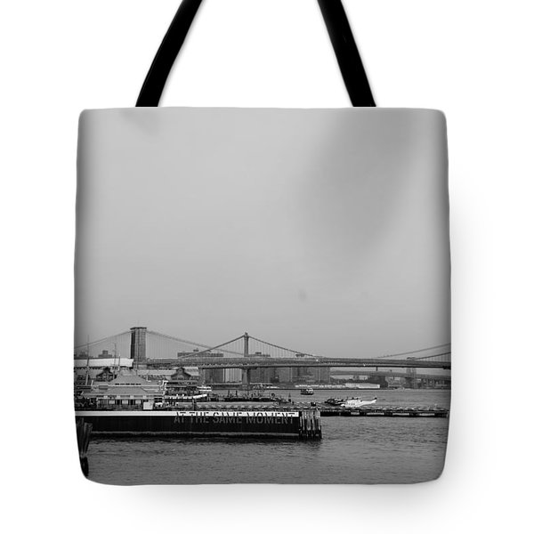 At The Same Moment In Black And White Tote Bag