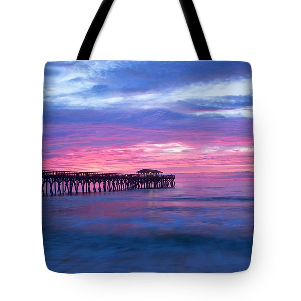 Myrtle Beach State Park Pier Sunrise Tote Bag