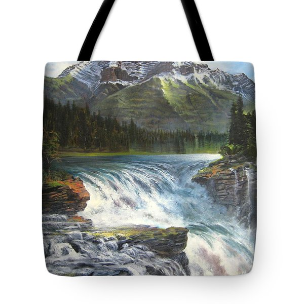 Tote Bag featuring the painting Athabasca Falls by LaVonne Hand