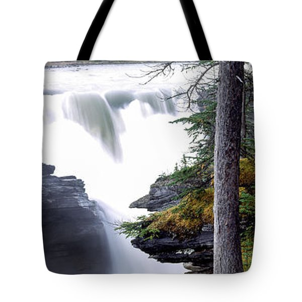 Athabasca Falls With Canadian Rockies Tote Bag