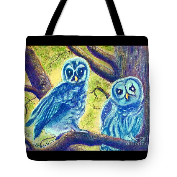 Tote Bag featuring the painting Athena's Owlets by D Renee Wilson