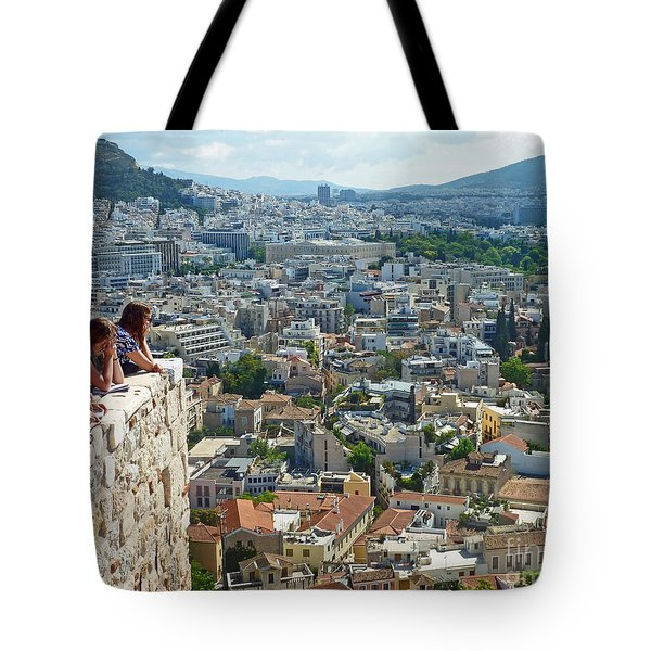 Tote Bag featuring the photograph Athenian Scholars by Cheryl Del Toro