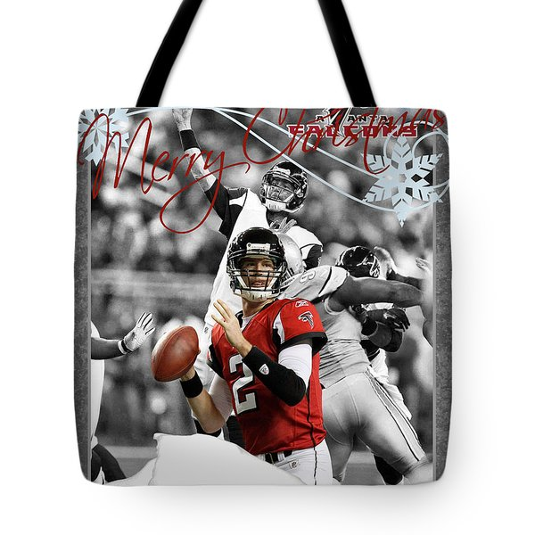 Atlanta Falcons Christmas Card Tote Bag