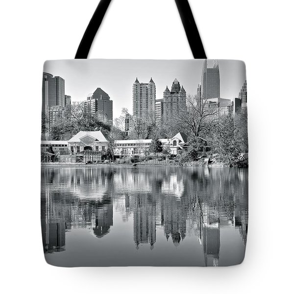Atlanta Reflecting In Black And White Tote Bag by Frozen in Time Fine Art Photography