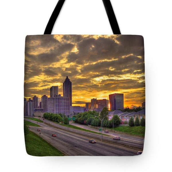 Atlanta Sunset Skyline Tote Bag