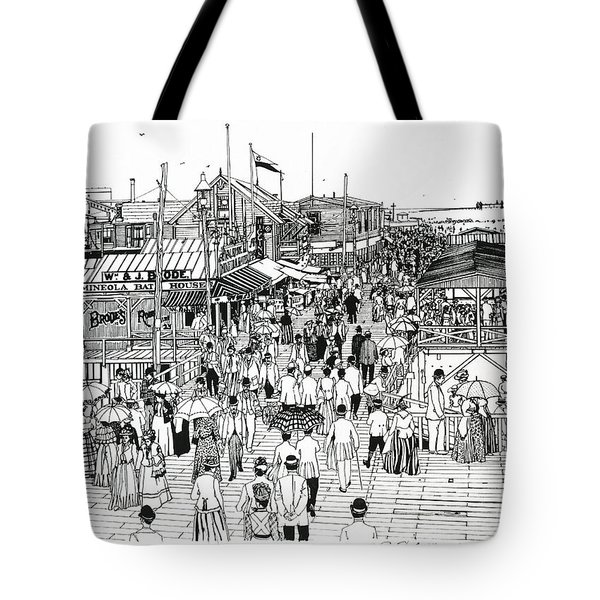 Tote Bag featuring the drawing Atlantic City Boardwalk 1890 by Ira Shander