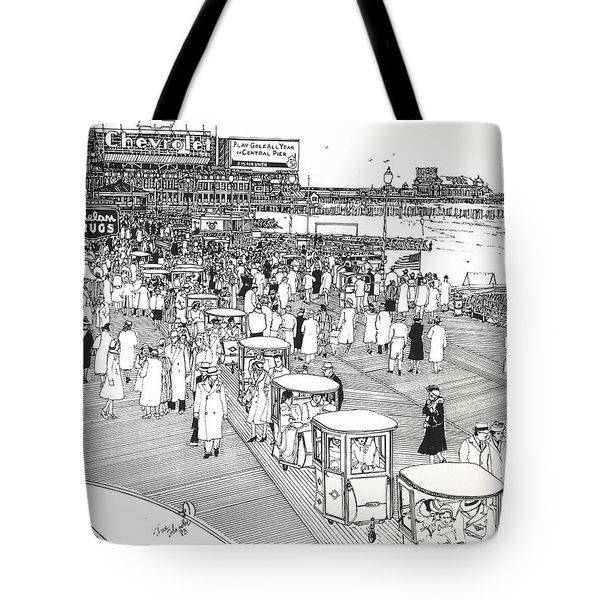 Tote Bag featuring the drawing Atlantic City Boardwalk 1940 by Ira Shander