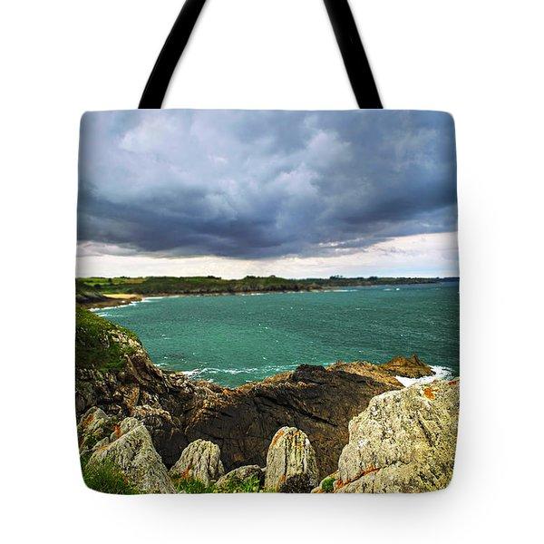 Atlantic Coastline In Brittany Tote Bag by Elena Elisseeva