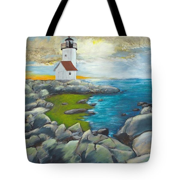Tote Bag featuring the painting Atlantic Dusk by Cynthia Morgan