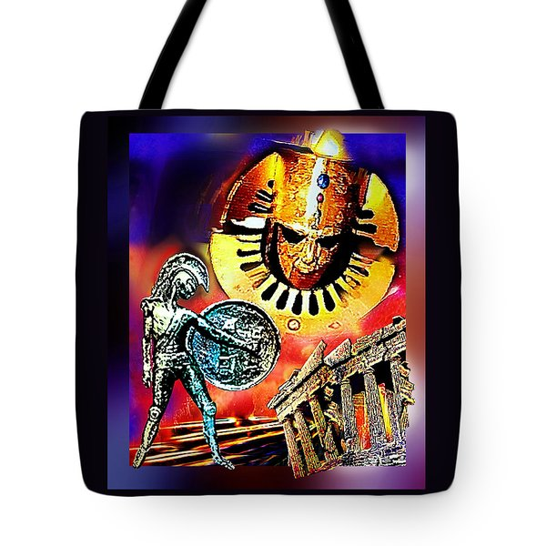 Tote Bag featuring the mixed media Atlantis - The Minoan Empire Has Fallen by Hartmut Jager
