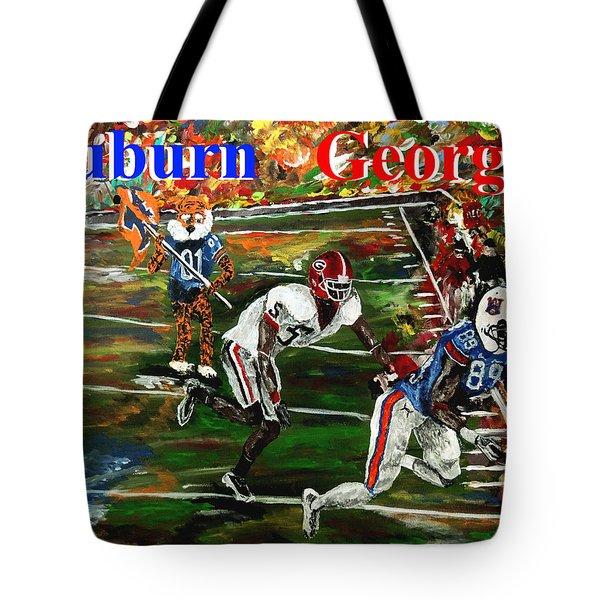 Auburn Georgia Football  Tote Bag by Mark Moore